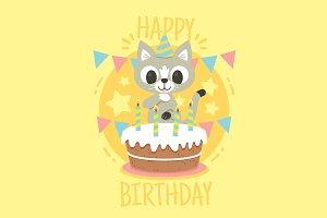 Cat Birthday Illustration