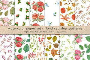 floral seamless pattern, watercolor