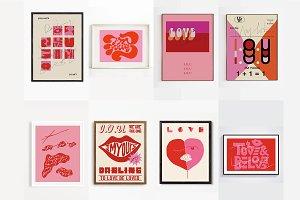 8 Printable Valentine Prints Bundle