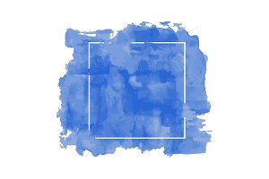 blue watercolor brush with frame