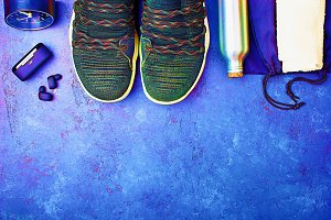 Sports athlete sneakers, headphones