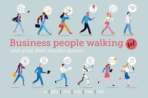 Set of business people walking