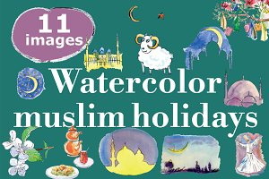 Watercolor Muslim holidays