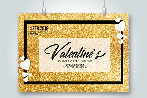Golden Valentine's Day Love Flyer
