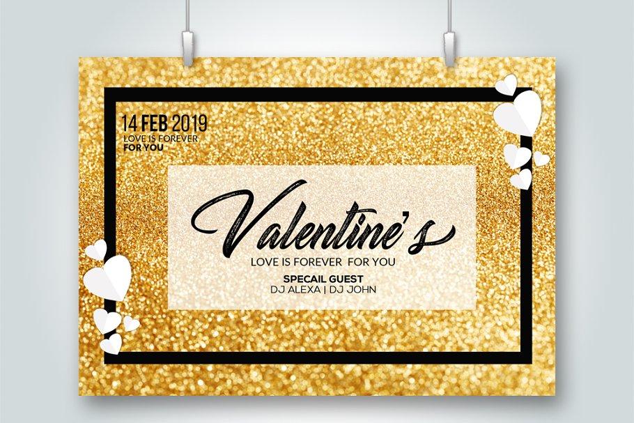 Golden Valentine's Day Love Flyer