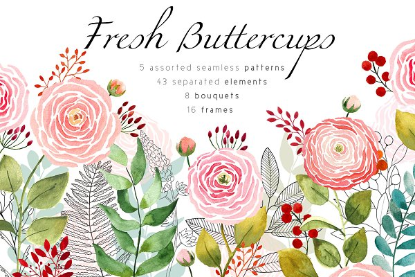 Fresh buttercups frames and pattern…