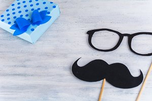 Photo booth mustache with space for