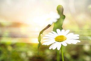 Double Exposure Woman & flower