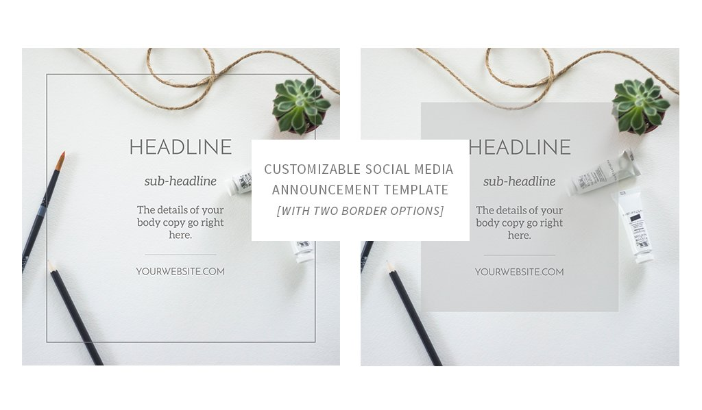 Social Media Announcement Template ~ Web Elements ~ Creative Market