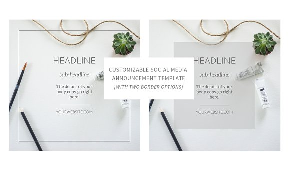 Social Media Announcement Template Web Elements Creative Market – Announcement Template