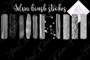 Silver brush strokes