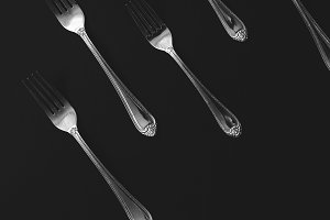 Black and White Forks Pattern