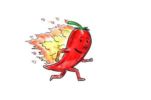 Animation Flaming Red Chili Pepper