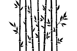 Bamboo silhouette forest set. Nature