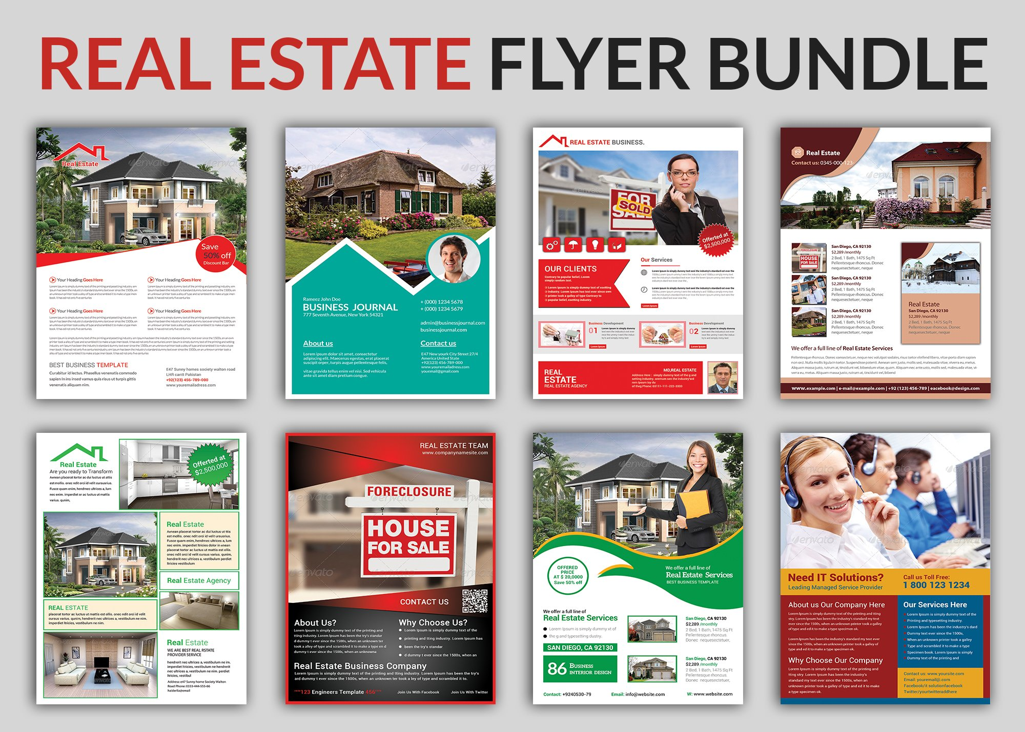 Real Estate Flyer Bundle Templates Flyer Templates Creative Market - Sell your house flyer template