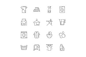 Laundry service icons. Washing