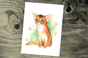 Ginger kitten. Watercolor.