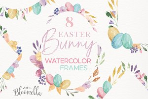 Watercolor Easter Spring Egg Frames