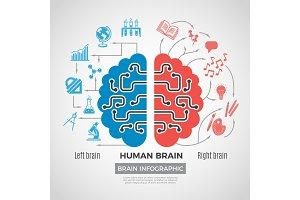 Brain silhouette infographic