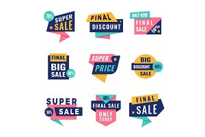 Promo badges. Offers big discount