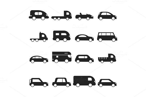 Car silhouettes icon. Type of