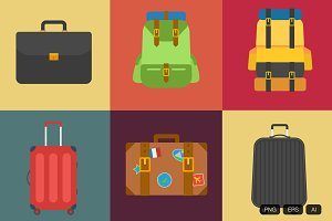6 Vintage Suitcase Vector Icon