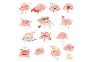 Brain cartoon. Happy cartoon mascot