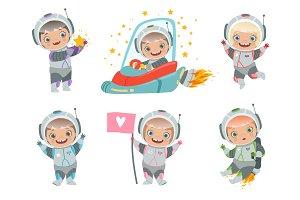 Kids astronauts. Children funny