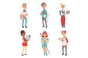 Geek characters. Girl and boys nerd