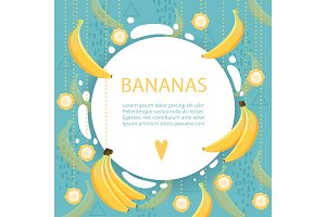 Banana background. Placard with