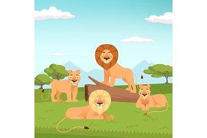 Lion pride landscape. Wild fur