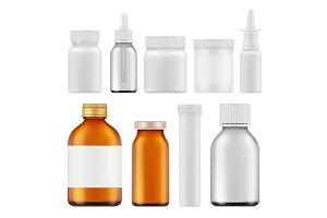 Pharmaceutical white bottles. Blank