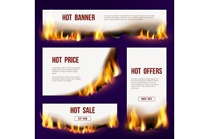Banners flame. Advertizing template