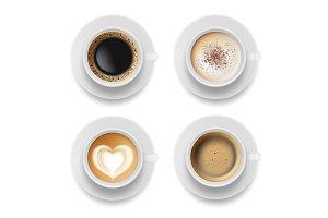 Coffee cup top. Hot milk espresso