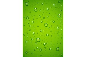 Water drop at green background.