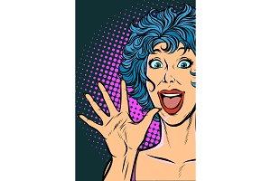 joyful surprise woman. Girls 80s