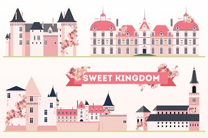 Sweet Kingdom. Pink castles