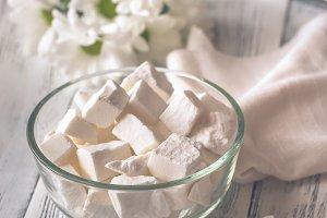 Bowl of white lump sugar