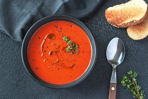 Bowl of spicy tomato soup