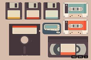 8 Vintage Storage Vector Icon