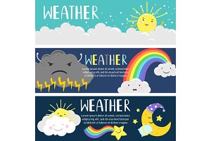 Weather banners with cute cartoon