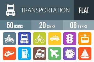 50 Transport Flat Round Corner Icons