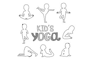 Vector outline kids yoga poses