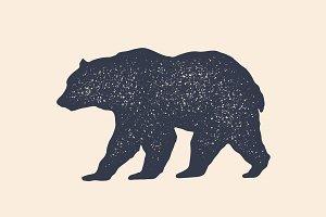 Bear, silhouette. Vintage logo