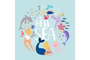 Hello sea, design of t-shirt. Fish