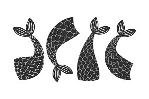 Black and white vector fishes