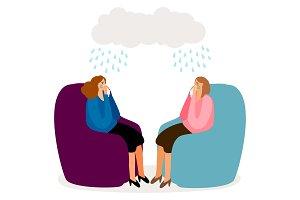 Crying women, depressed girls vector