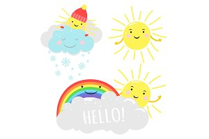 Cute sunny vector illustration with