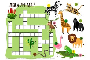Exotic african animals vector