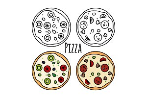 Pizza icons set. Coloring fast food